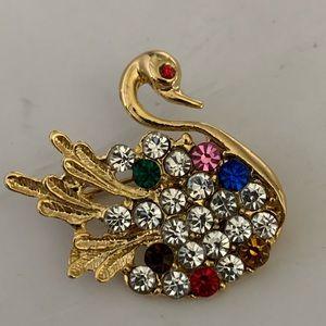 Vintage Gold Multi Color Crystal Swan Brooch/Pin